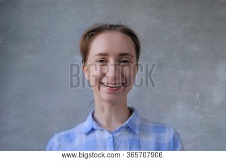 Portrait Of Woman Blogger In Plaid Shirt Looking At Camera, Speaking, Having Video Call, Interview,