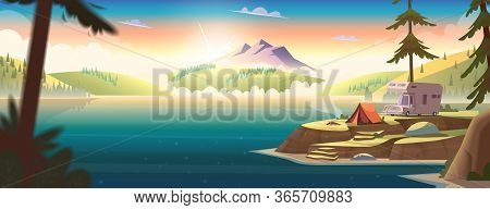Summer Morning Landscape With Mountain Lake View And Camping . Summer Camp On River Shore. Horesonta