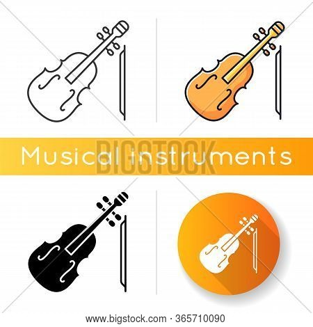 Violin Icon. Orchestral Musical Instrument. Classical Music Performance. Fiddle Symphony Concert. Co