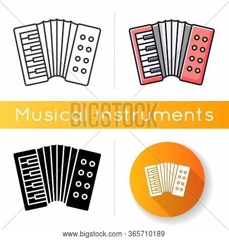Accordion Icon. Classical Musical Instrument To Play Folk. Live Orchestra Performance. Keyboard Type