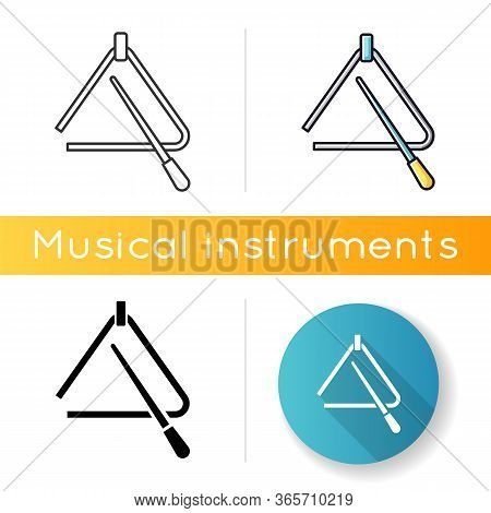 Triangle Icon. Percussion Tool For Acoustic Band Performance. Orchestral Musical Instrument. Play Mu