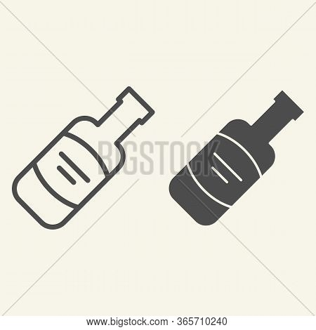 Wine Bottle Line And Solid Icon. Alcohol Beverage Symbol, Outline Style Pictogram On Beige Backgroun