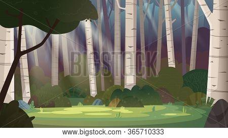 Cartoon Magic Summer Birch Forest Glade With Sunbeams. Forest Wilderness Landscape.