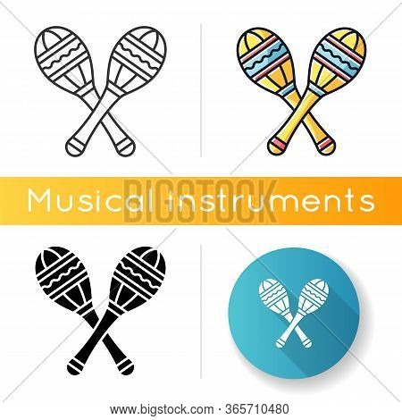 Maracas Icon. Traditional Musical Instrument For Ethnic Festival. Crossed Shakers For Band Performan
