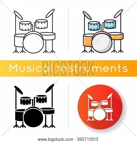 Drum Kit Icon. Musical Instrument On Stage For Live Band Performance. Crash Cymbals And Snare Drum I