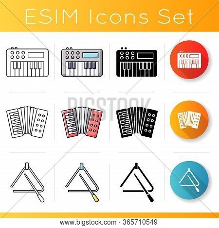 Band Musical Instruments Icons Set. Band Performance. Keyboard To Play Melody. Accordion Concert. Li