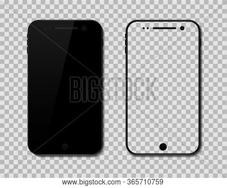 Vector Mockup Screen Phone On Isolated Background. Smartphone Device Icon With Blank Display. Mobile