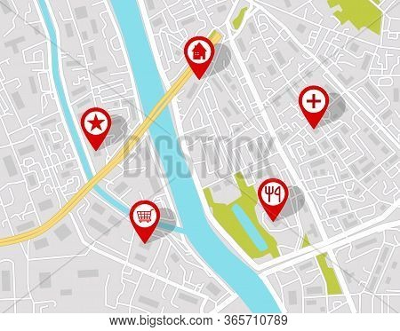 Vector Map Of City Street With Pins Location. Graphic Geotag Of Gps Navigation In Town Background. S
