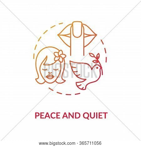 Peace And Quiet Red Concept Icon. Stress Relief. Tranquil Mind. Psychological Wellbeing And Wellness