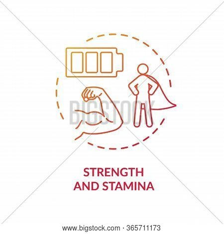 Strength And Stamina Red Concept Icon. Psychical Energy. Exercise And Workout. Athletic Body. Health