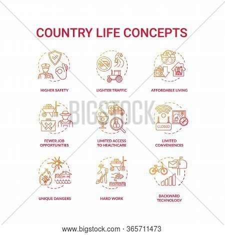 Country Life Red Concept Icons Set. Advantage And Disadvantage Of Farming. Work Outside City. Villag