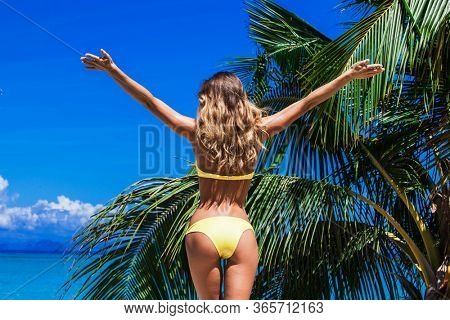 Woman in bikini enjoying tropical beach looking at sea with raised hands