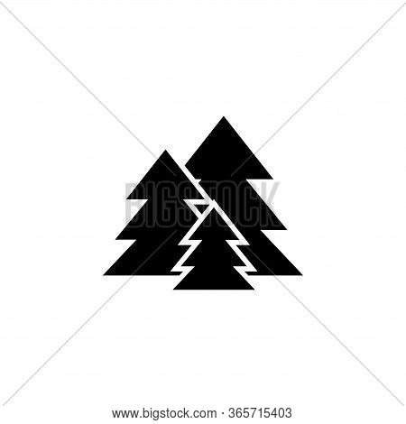Fir Tree Forest, Spruce Trees. Flat Vector Icon Illustration. Simple Black Symbol On White Backgroun