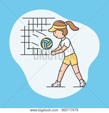 Active Sport And Healthy Lifestyle Concept. Young Cheerful Girl Plays Volleyball At School Or Univer