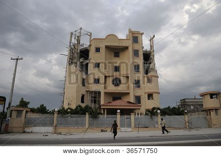 Broken and abandoned building in Haiti..