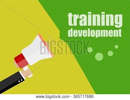 Training Development. Flat Design Business Concept Digital Marketing Business Man Holding Megaphone
