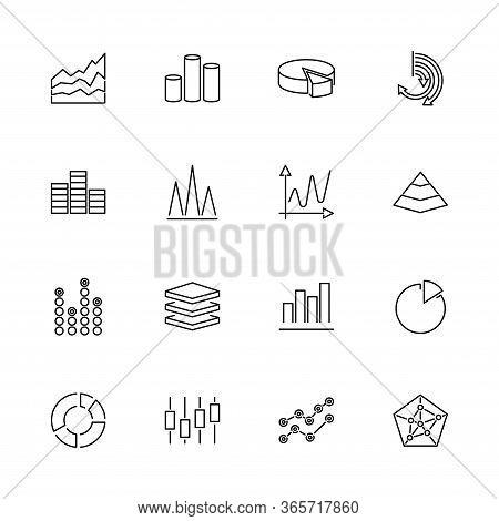 Diagram Graphs, Chart Pie Outline Icons Set - Black Symbol On White Background. Diagram Graphs, Char