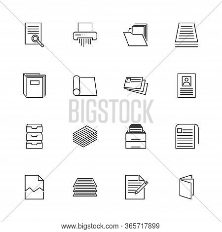 Office Document, Accounting Outline Icons Set - Black Symbol On White Background. Hr Office Document