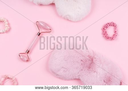 Jade Face Roller With Cute Fluffy Sleep Mask And Pink Accessories. Sleep Management And Optimization