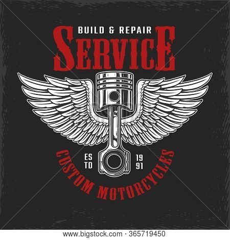 Build And Repair Motorcycle Service Label With Winged Engine Piston Isolated Vector Illustration