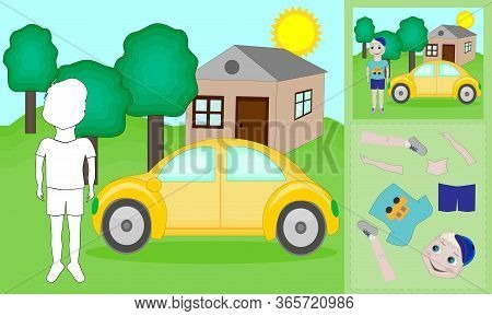 A Vector Illustration Of A Boy And Car Puzzle. Find The Correct Shadow. Educational Game For Childre