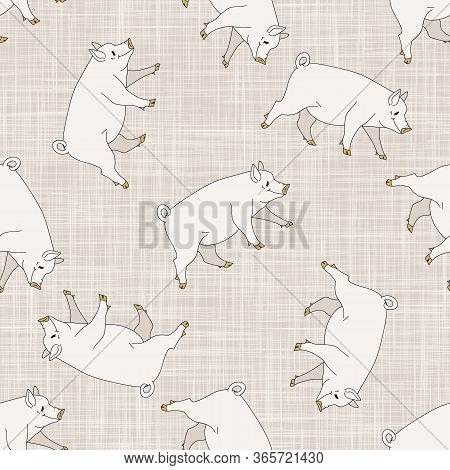 Seamless French Farmhouse Pig Pattern. Farmhouse Linen Shabby Chic Style. Hand Drawn Rustic Texture