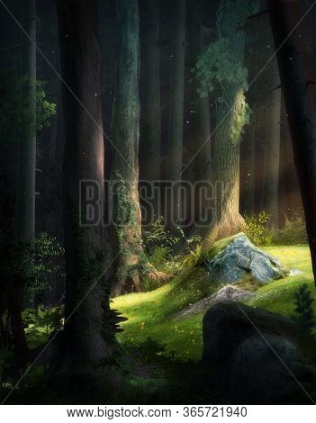 Atmospheric And Enchanting Fantasy Fairy Tale Forest Background, 3d Render Painting.