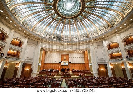 Bucharest, Romania - May 11, 2020: Romanian Members Of Parliament Attend A Parliament's Session In T