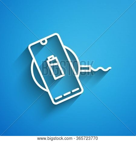 White Line Smartphone Charging On Wireless Charger Icon Isolated On Blue Background. Charging Batter