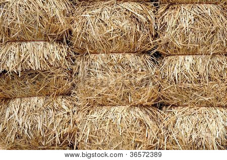 Hay In Bunches In Market For Background Decoration
