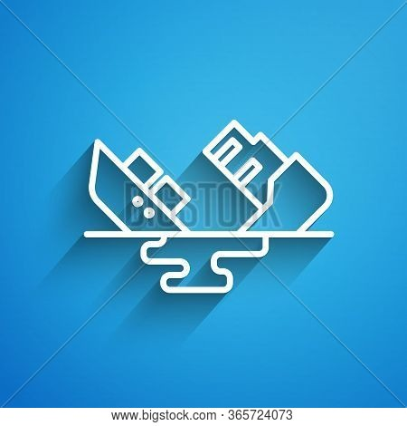 White Line Wrecked Oil Tanker Ship Icon Isolated On Blue Background. Oil Spill Accident. Crash Tanke