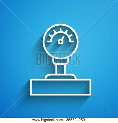 White Line Gauge Scale Icon Isolated On Blue Background. Satisfaction, Temperature, Manometer, Risk,