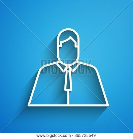 White Line Lawyer, Attorney, Jurist Icon Isolated On Blue Background. Jurisprudence, Law Or Court Ic
