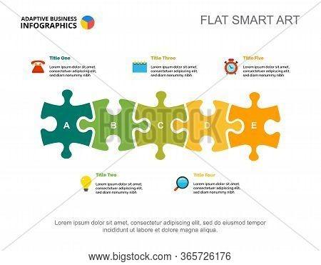 Five Elements Process Chart Slide Template. Business Data. Project, Idea, Design. Creative Concept F
