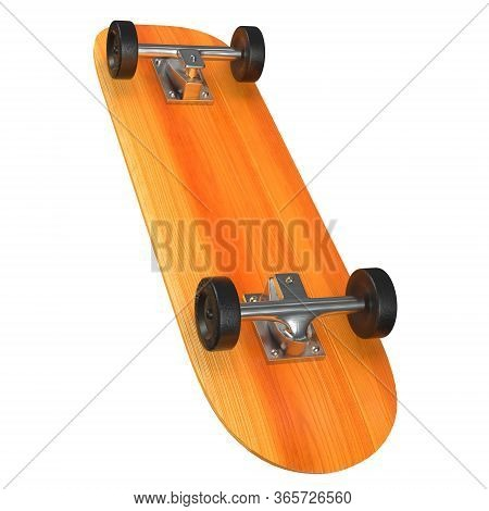 Skateboard Longboard Pennyboard. Eco Alternative City Transport. 3d Render Isolated On White Backgro