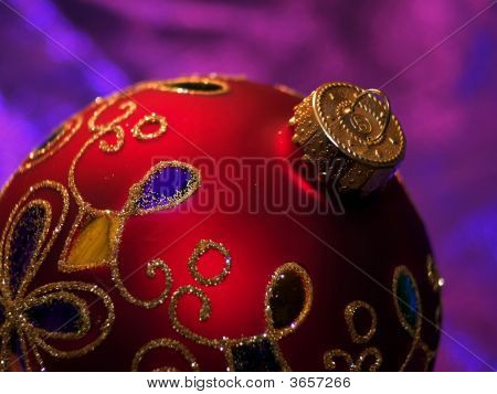 Shiny Red Christmas Ornament With Glitter