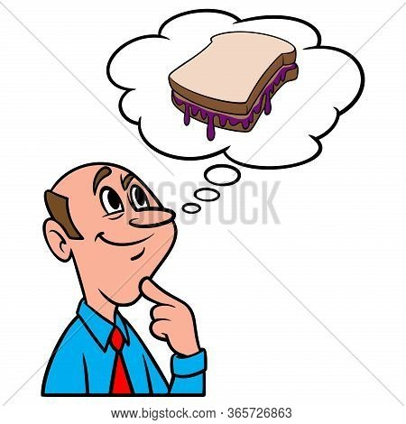 Thinking About Peanut Butter And Jelly - A Cartoon Illustration Of A Man Thinking About A Peanut But