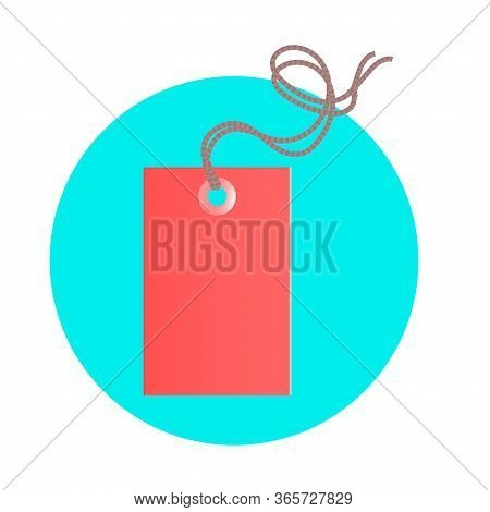Illustration Of A Commodity Red Tag With A Rope. Sale Or Discount. Vector Illustration On A Blue Rou