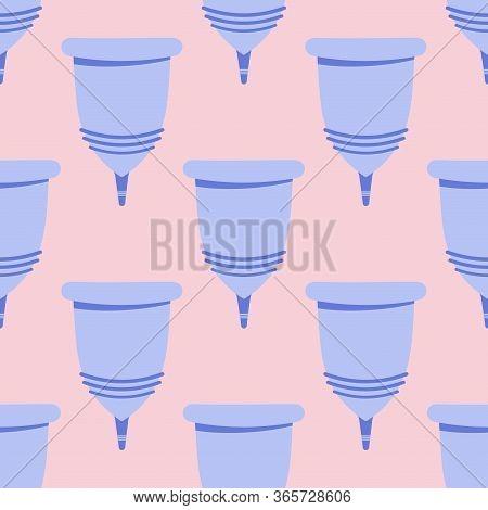 Menstrual Cramp In Period, Seamless Pattern Use Menstrual Cup Inside Vagina. Zero Waste Feminine Dev