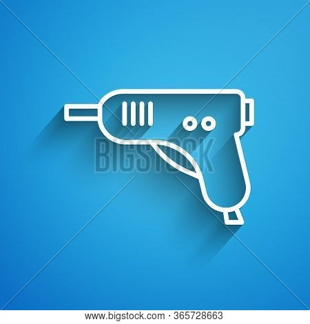 White Line Electric Hot Glue Gun Icon Isolated On Blue Background. Hot Pistol Glue. Hot Repair Work