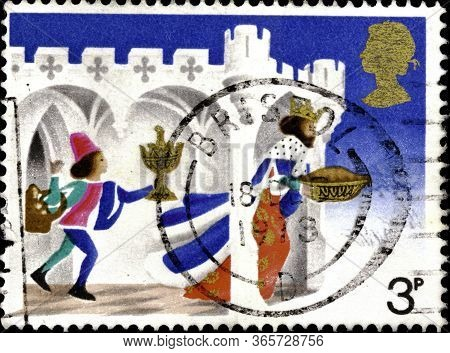 02 10 2020 Divnoe Stavropol Krai Russia Postage Stamp Great Britain 1973 Christmas Stamps Good King