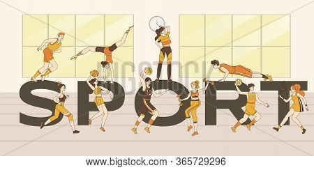 Sport Word Banner Template. Young Happy Men And Women In Sports Suits Doing Sport Exercises, Fitness