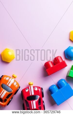 Kids Flatlay Constructor, Cars. The Concept Of Development And Parenting. Leisure, Hobbies Of The Ch