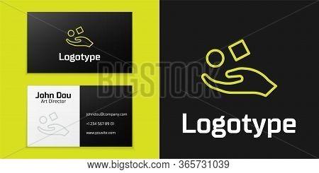 Logotype Line Cube Levitating Above Hand Icon Isolated On Black Background. Levitation Symbol. Logo