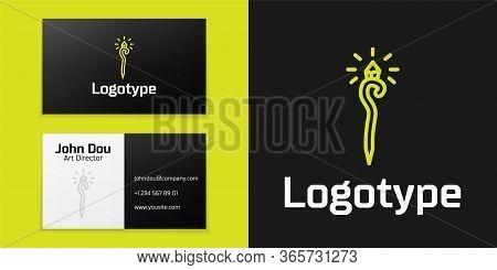 Logotype Line Magic Staff Icon Isolated On Black Background. Magic Wand, Scepter, Stick, Rod. Logo D