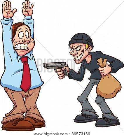 Hombre gordo siendo robado por un ladrón a punta de pistola. Ilustración de vector con gradientes simples. Cada uno en un se
