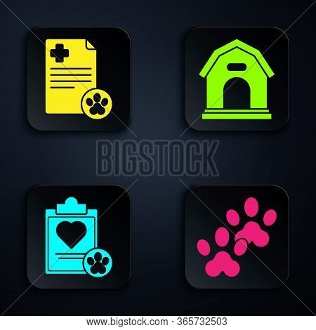 Set Paw Print, Clipboard With Medical Clinical Record Pet, Clipboard With Medical Clinical Record Pe