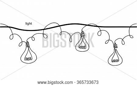 Lamps, Bulb, Festoon, Garland, Glowing Light Vector Seamless Border. One Continuous Line Drawing Lam