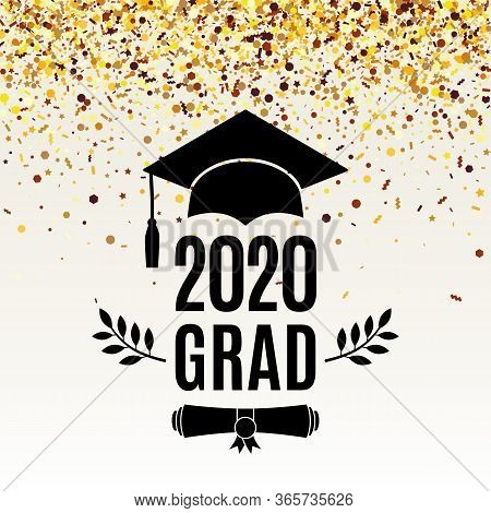 Grad 2020 Class Of Greeting Card With Scroll, Hat, Laurel On Beige Background With Falling Golden Co