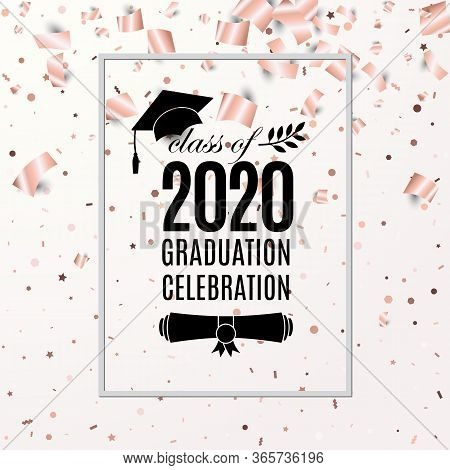 Graduation Celebration 2020 Class Of Banner With Hat, Paper Roll, Laurel On Blush Rose Backdrop With